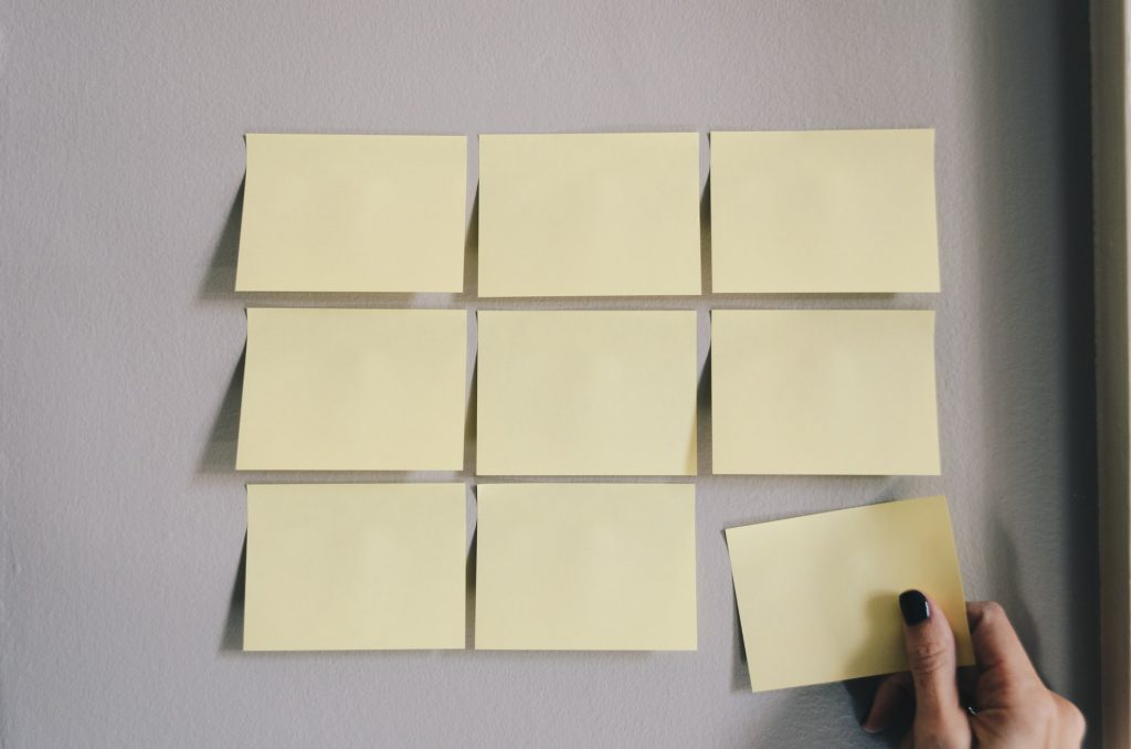 post its on a wall