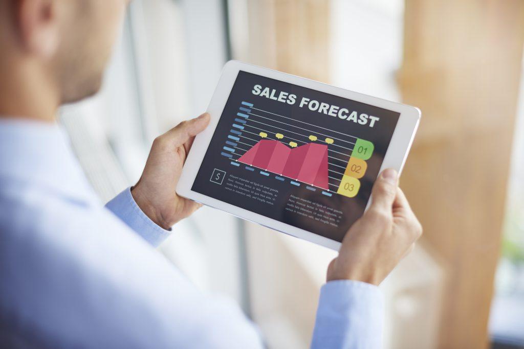 Sales forecast on digital tablet