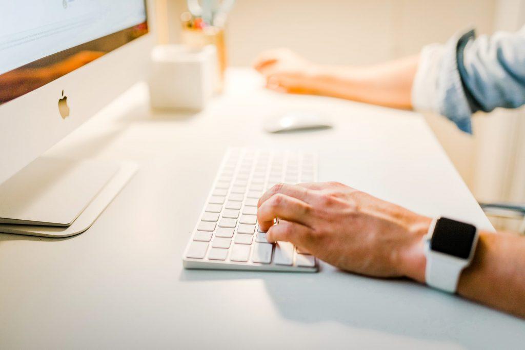 man on keyboard